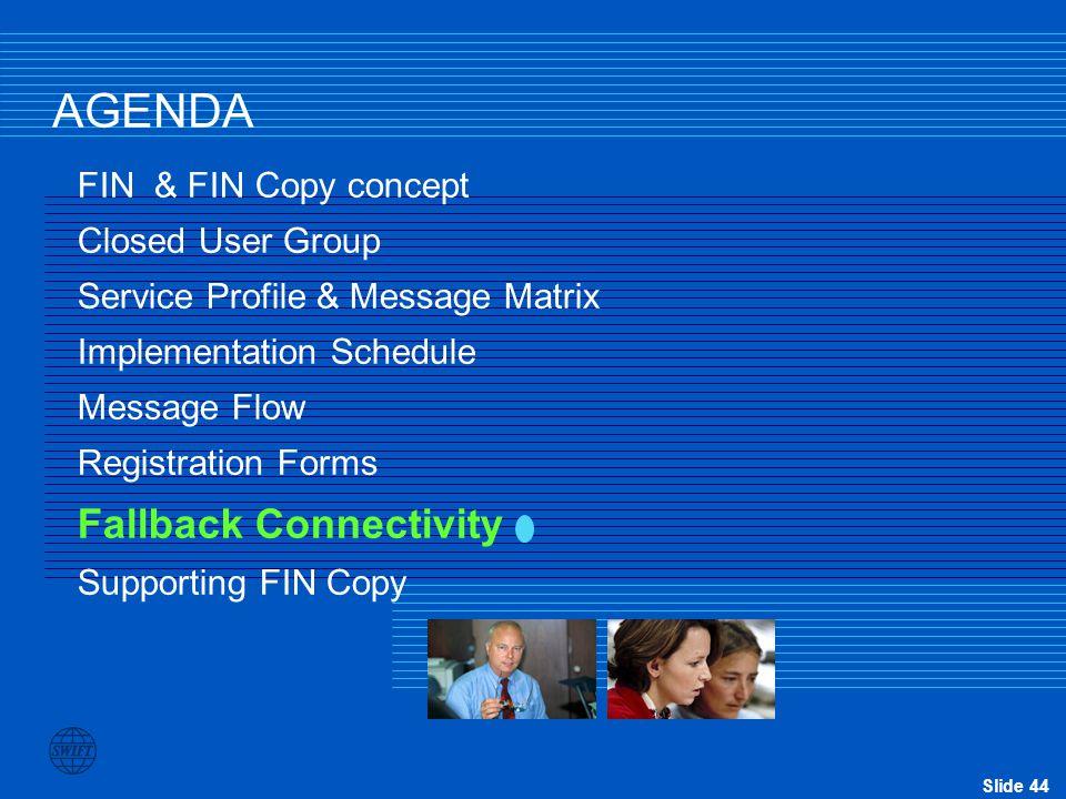 AGENDA Fallback Connectivity FIN & FIN Copy concept Closed User Group