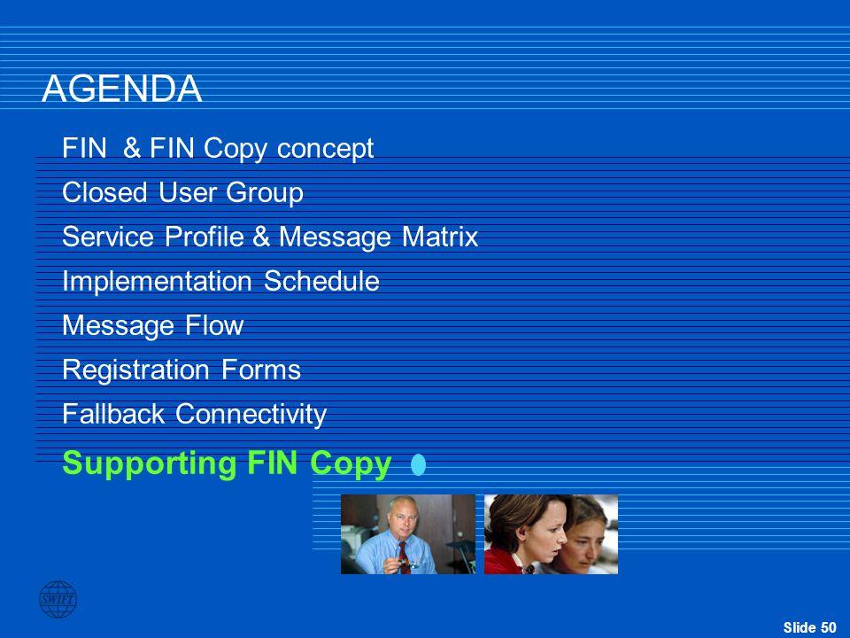 AGENDA Supporting FIN Copy FIN & FIN Copy concept Closed User Group
