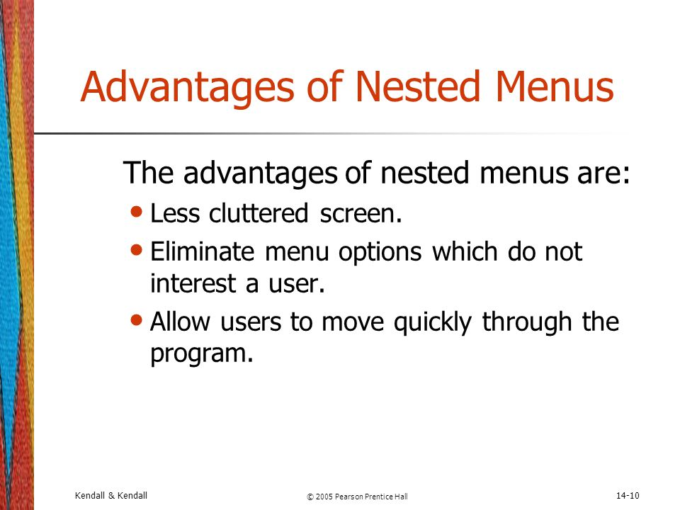 Advantages and disadvantages of menu