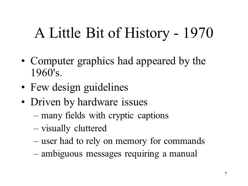 A Little Bit of History - 1970