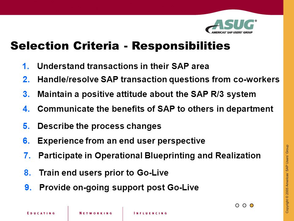 Selection Criteria - Responsibilities