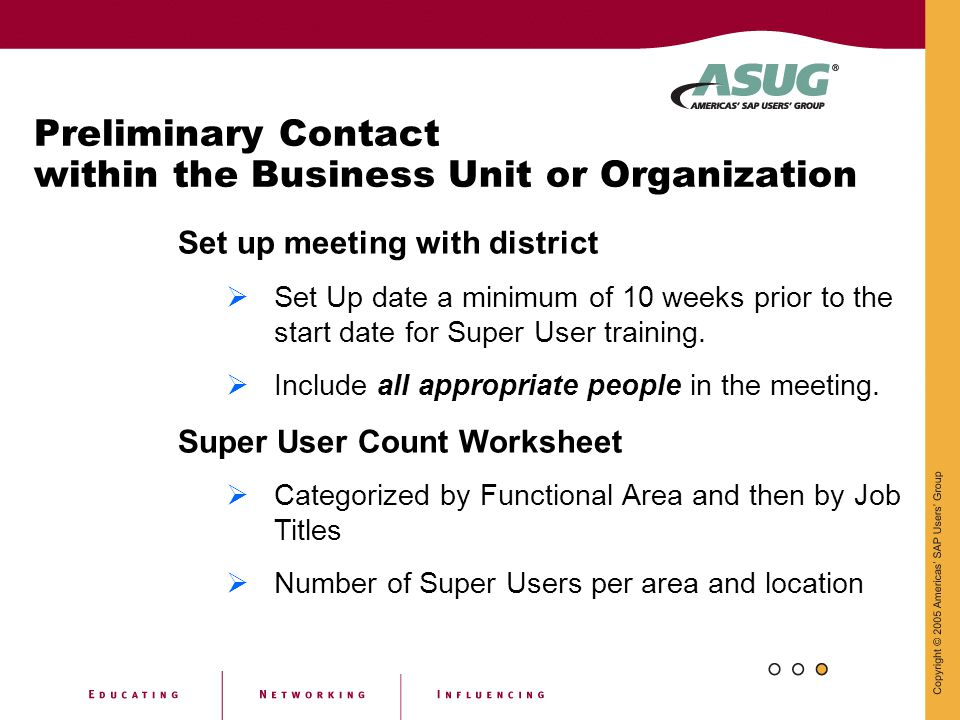 Preliminary Contact within the Business Unit or Organization