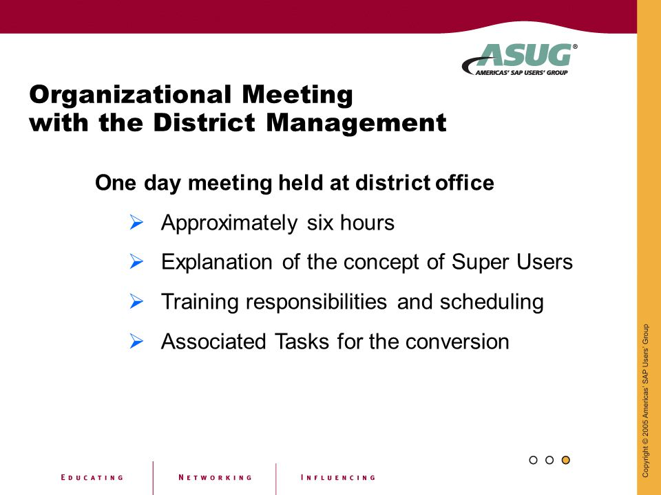 Organizational Meeting with the District Management