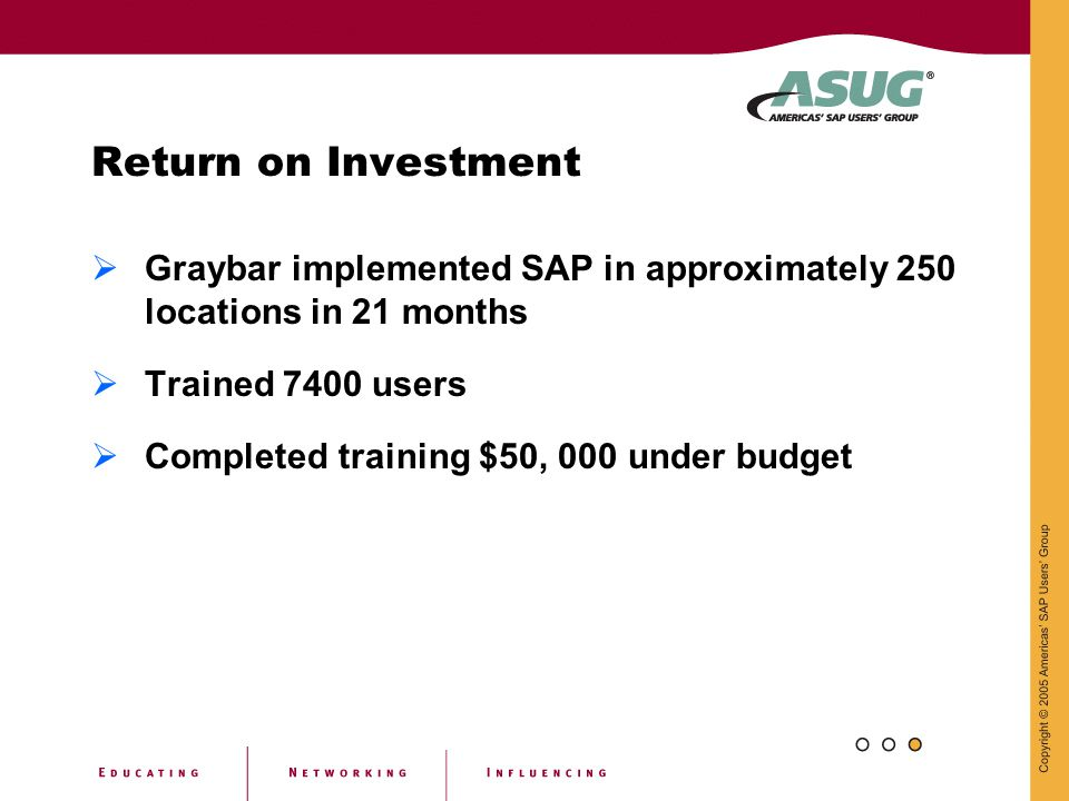 Return on Investment Graybar implemented SAP in approximately 250 locations in 21 months. Trained 7400 users.
