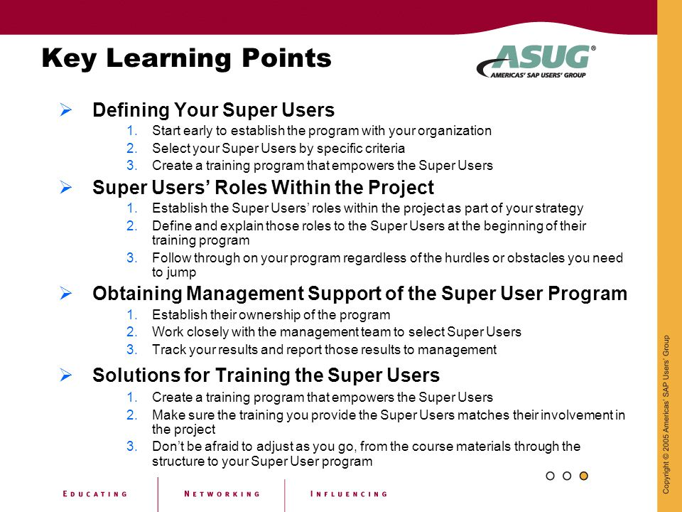 Key Learning Points Defining Your Super Users