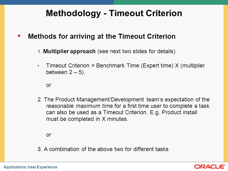 Methodology - Timeout Criterion
