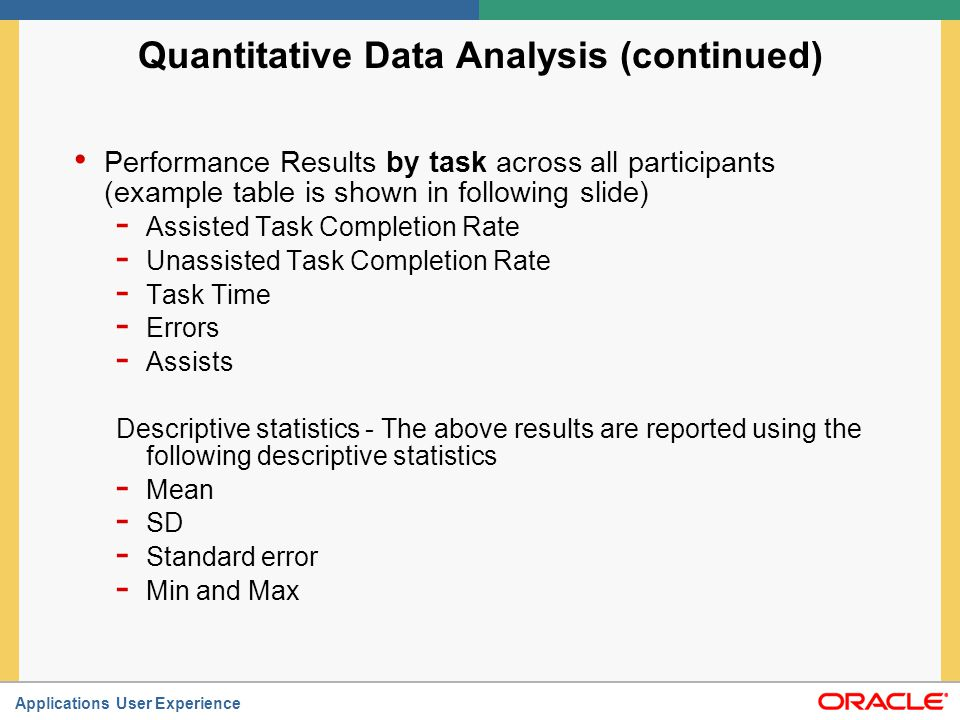 Quantitative Data Analysis (continued)