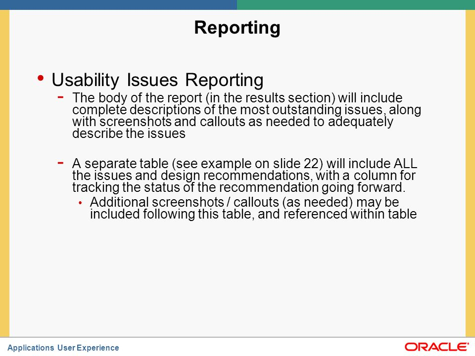 Usability Issues Reporting