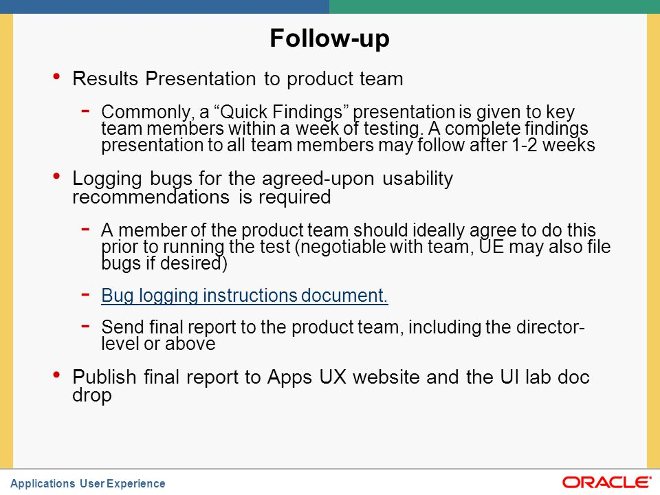 Follow-up Results Presentation to product team