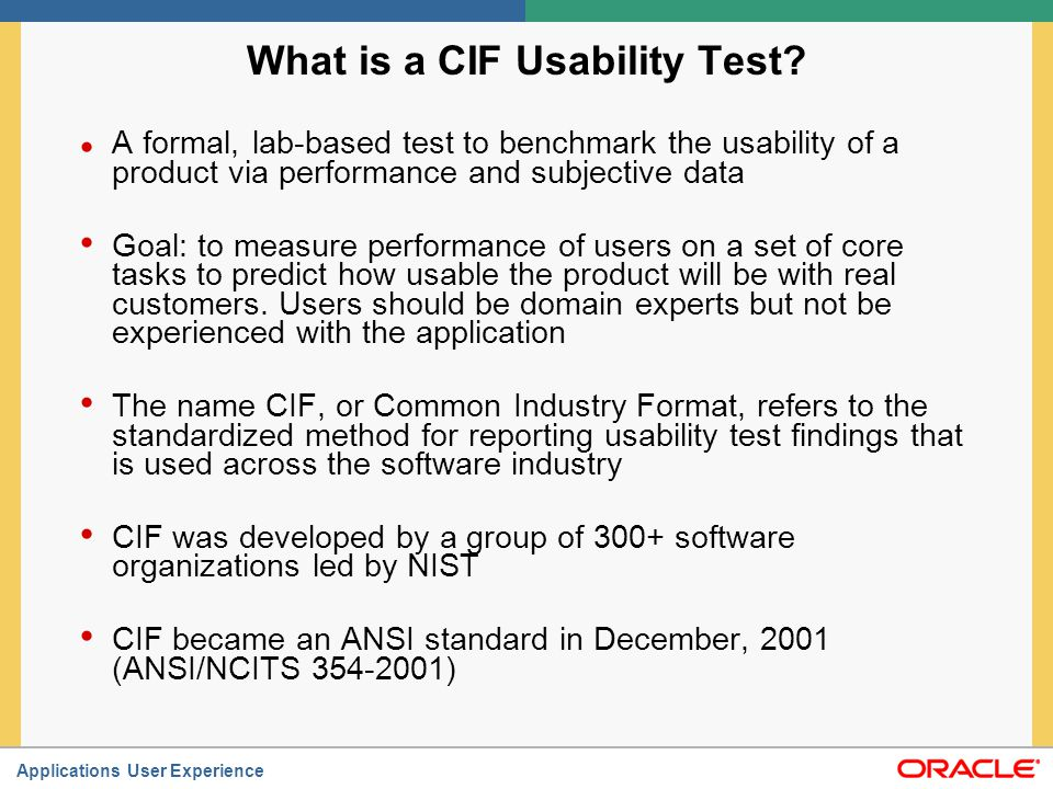 What is a CIF Usability Test