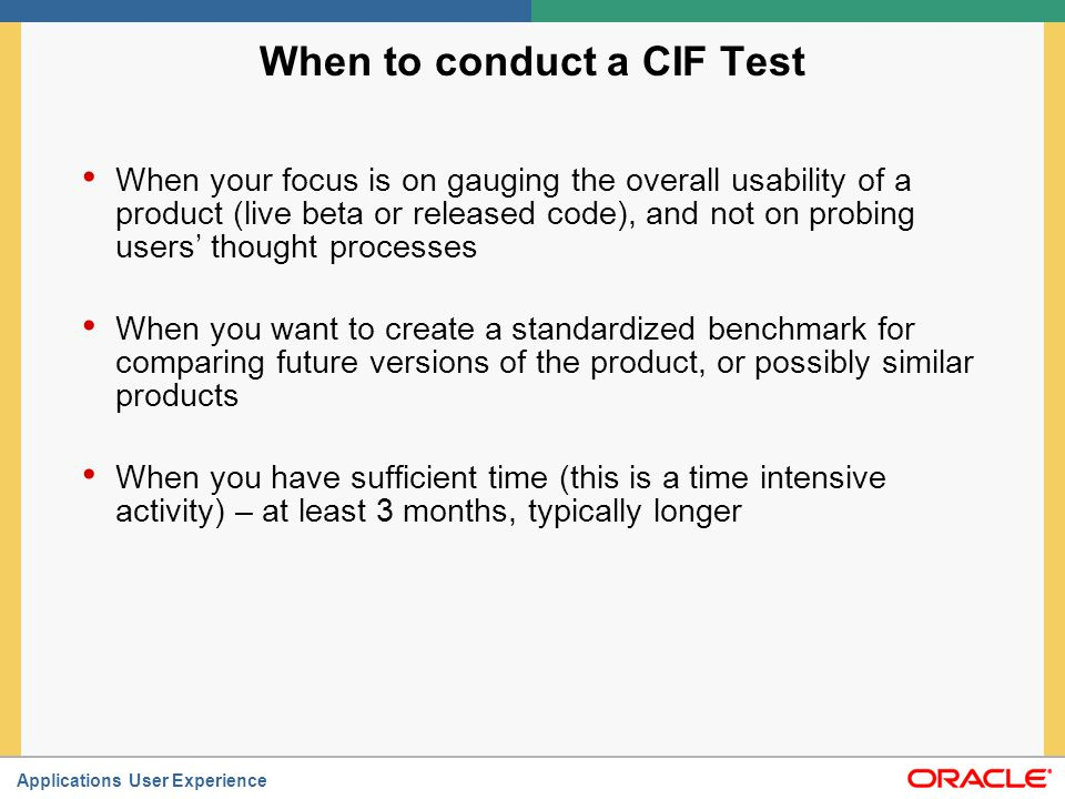 When to conduct a CIF Test