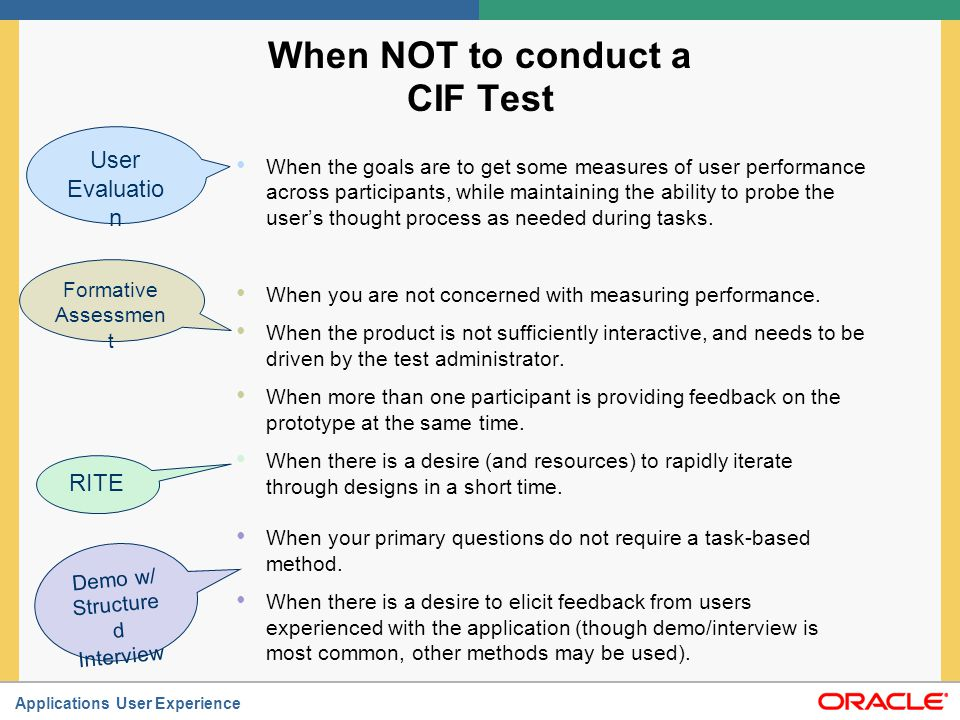 When NOT to conduct a CIF Test