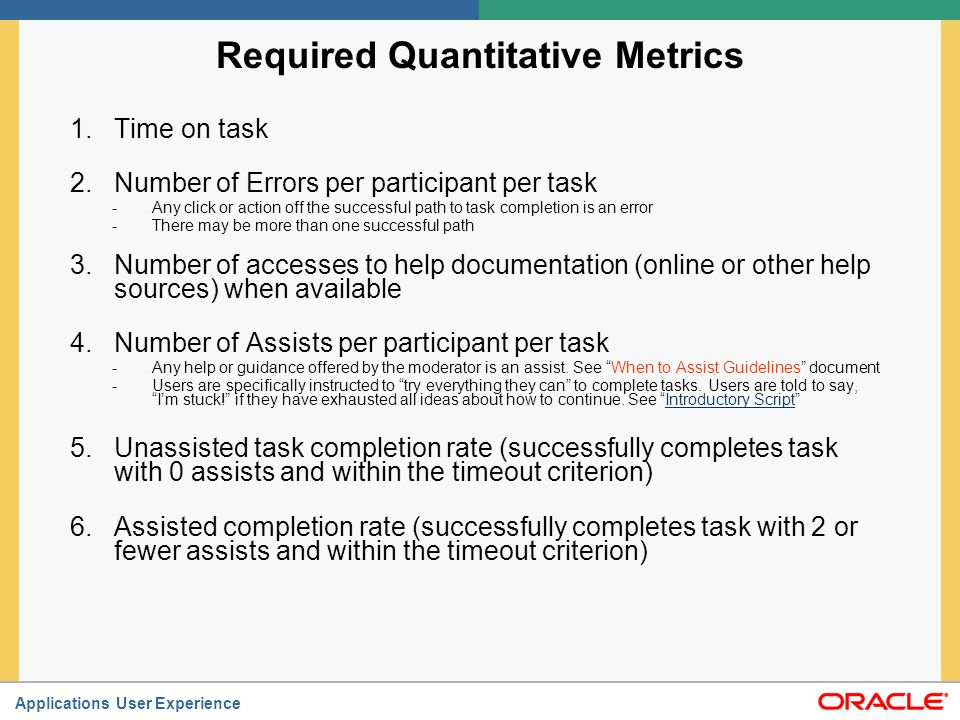 Required Quantitative Metrics