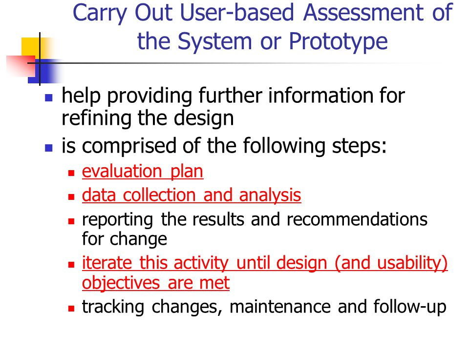 Carry Out User-based Assessment of the System or Prototype