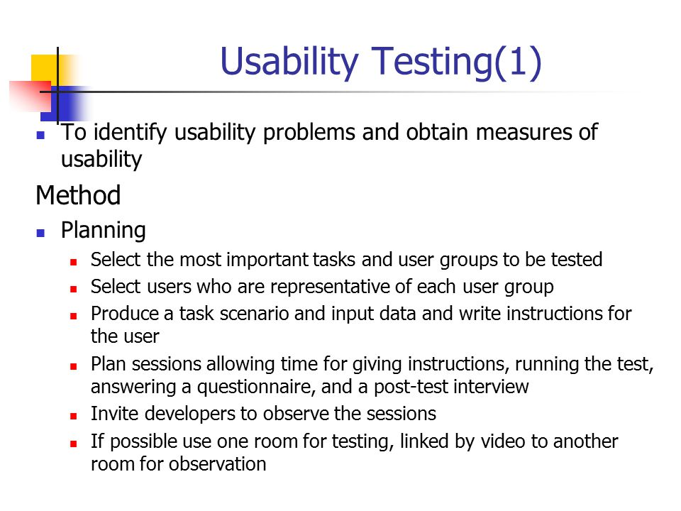 Usability Testing(1) Method