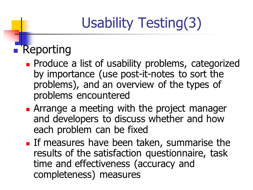 Usability Testing(3) Reporting