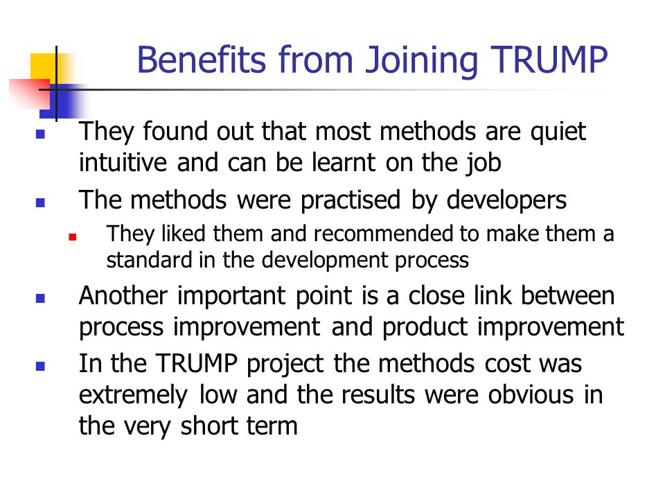 Benefits from Joining TRUMP