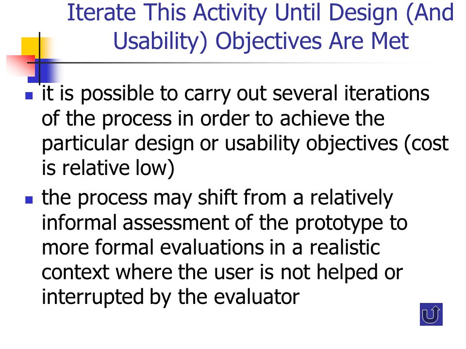 Iterate This Activity Until Design (And Usability) Objectives Are Met