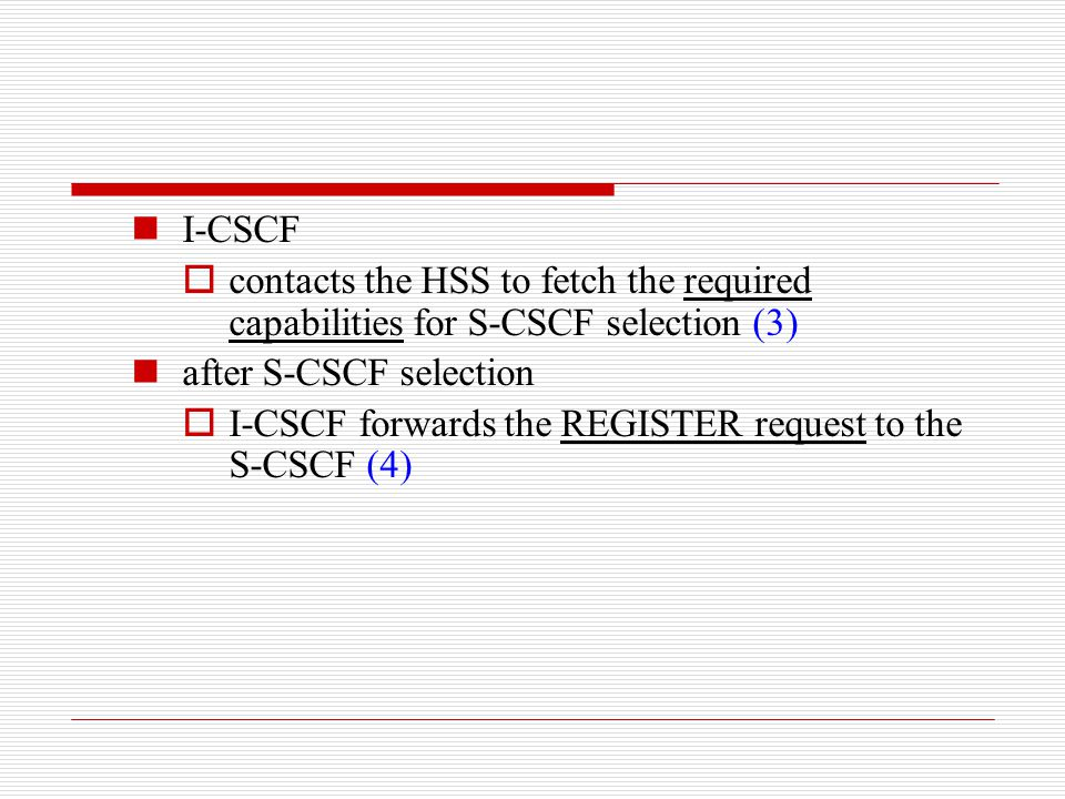I-CSCF contacts the HSS to fetch the required capabilities for S-CSCF selection (3) after S-CSCF selection.