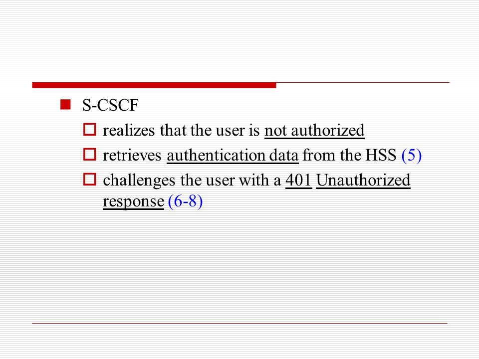 S-CSCF realizes that the user is not authorized. retrieves authentication data from the HSS (5)