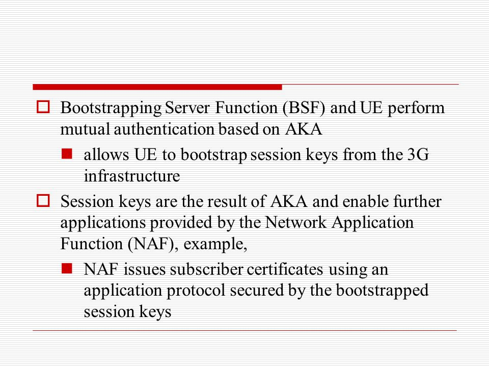 Bootstrapping Server Function (BSF) and UE perform mutual authentication based on AKA