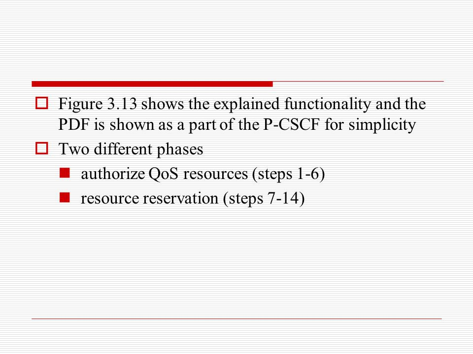 Figure 3.13 shows the explained functionality and the PDF is shown as a part of the P-CSCF for simplicity