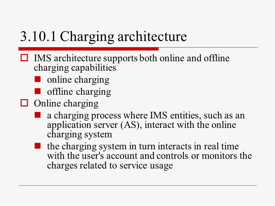 3.10.1 Charging architecture