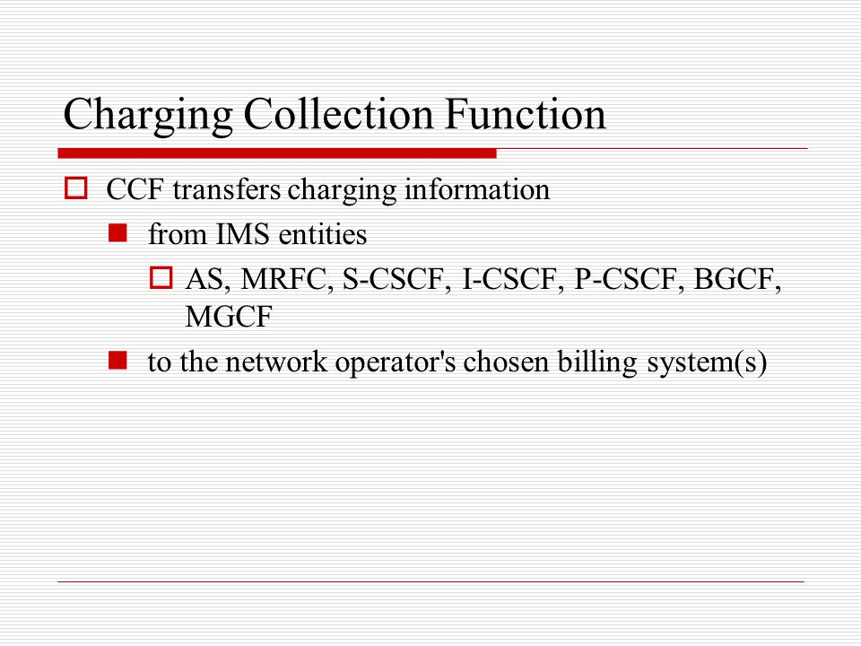 Charging Collection Function