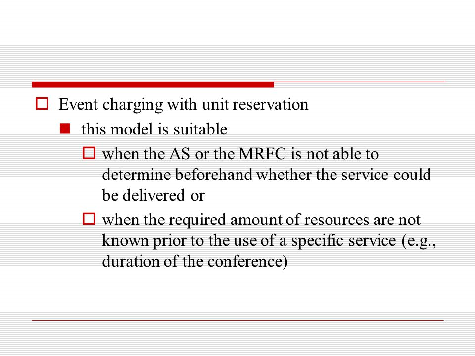 Event charging with unit reservation