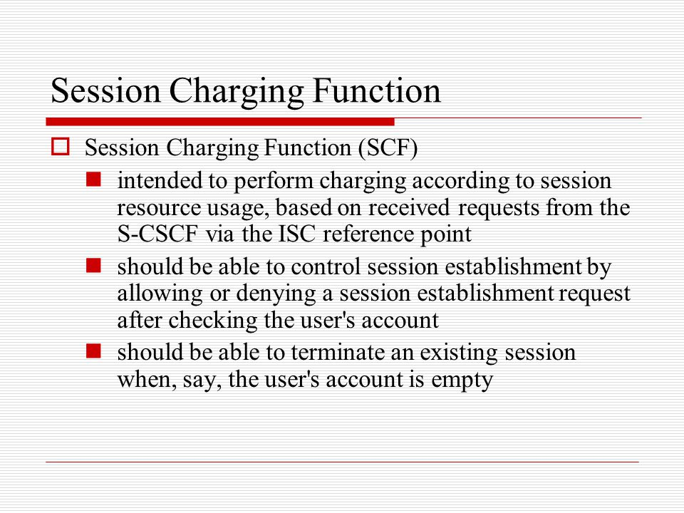 Session Charging Function