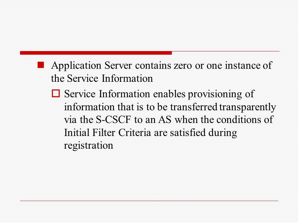 Application Server contains zero or one instance of the Service Information