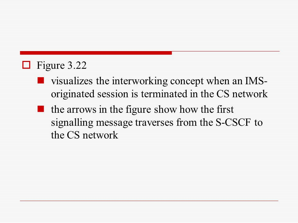 Figure 3.22 visualizes the interworking concept when an IMS-originated session is terminated in the CS network.
