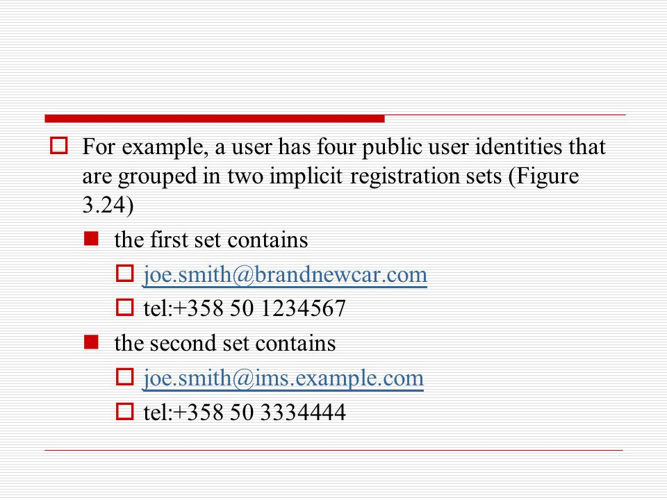 For example, a user has four public user identities that are grouped in two implicit registration sets (Figure 3.24)