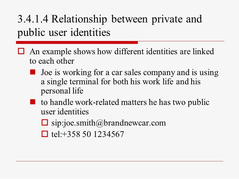 3.4.1.4 Relationship between private and public user identities
