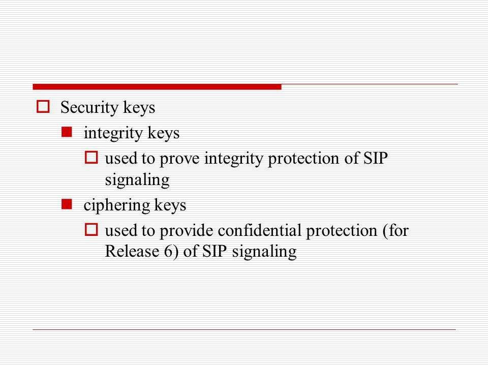 Security keys integrity keys. used to prove integrity protection of SIP signaling. ciphering keys.