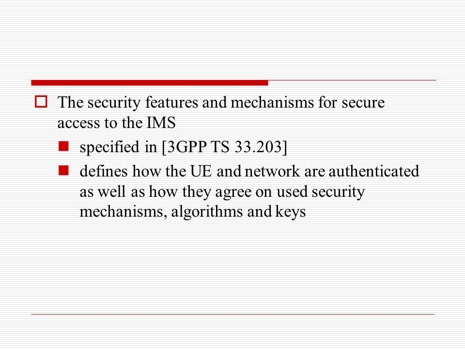 The security features and mechanisms for secure access to the IMS