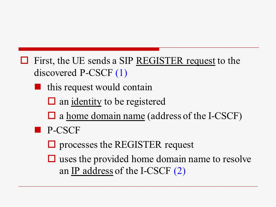 First, the UE sends a SIP REGISTER request to the discovered P-CSCF (1)