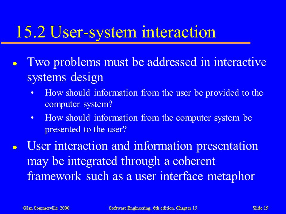 15.2 User-system interaction