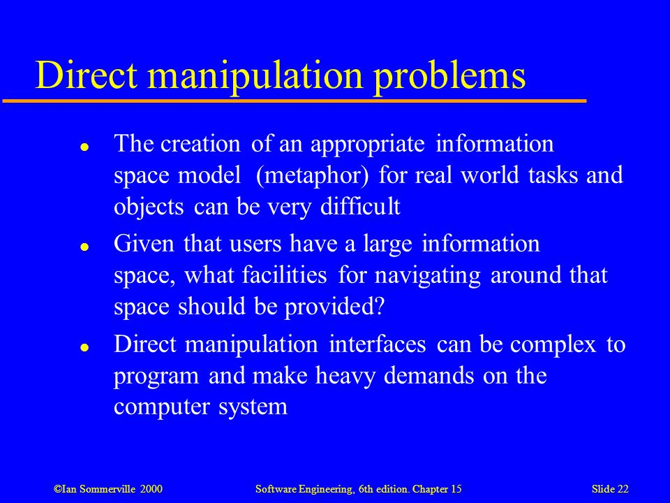Direct manipulation problems