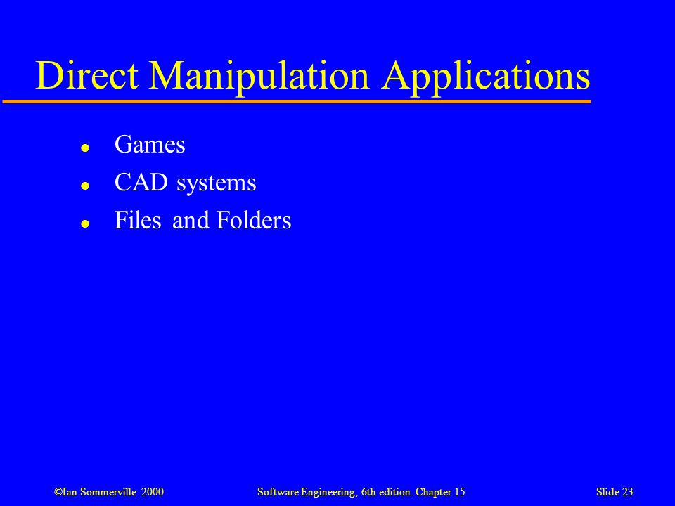 Direct Manipulation Applications