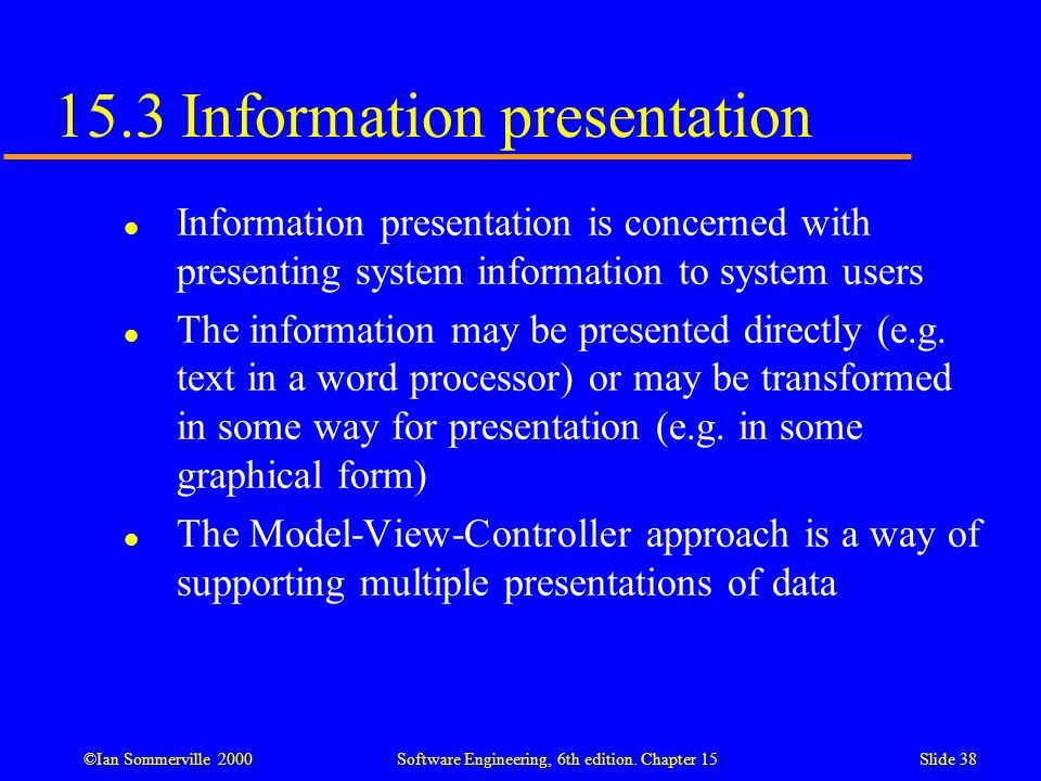 15.3 Information presentation