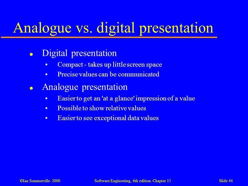 Analogue vs. digital presentation