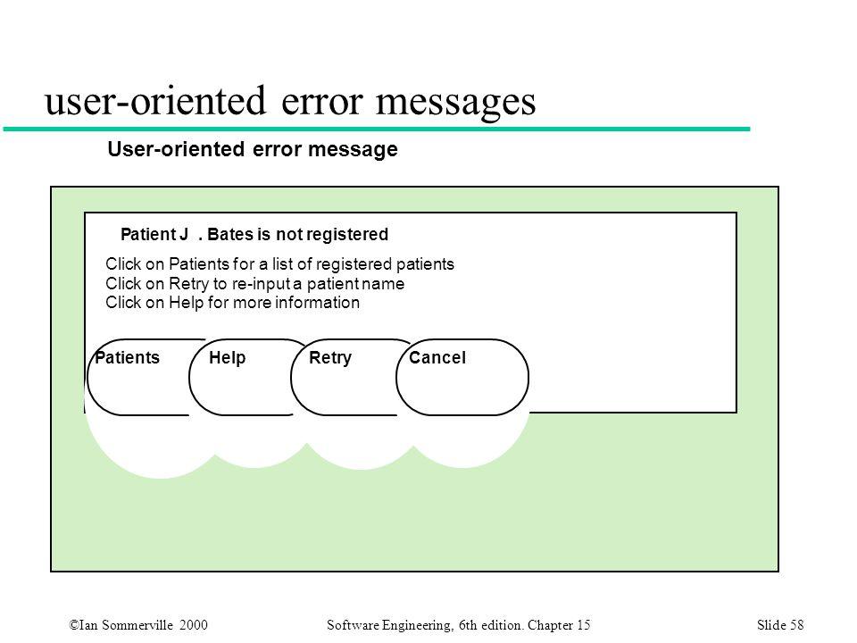 user-oriented error messages