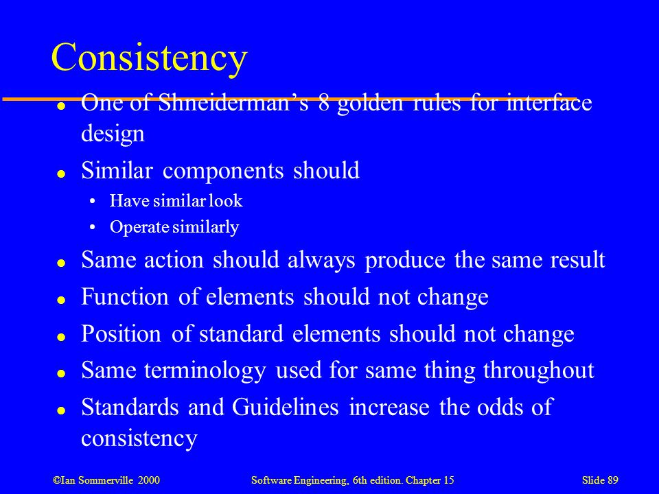Consistency One of Shneiderman's 8 golden rules for interface design