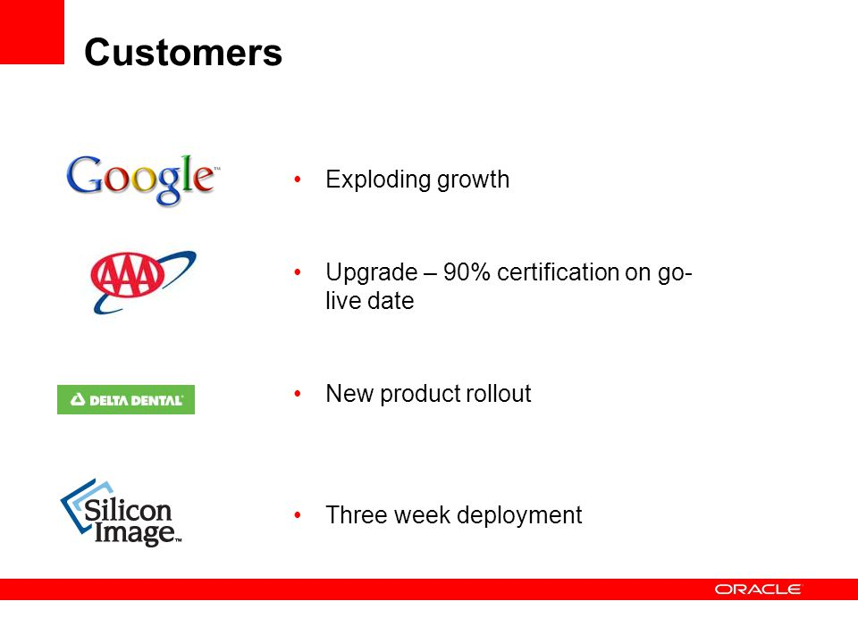 Customers Exploding growth Upgrade – 90% certification on go-live date
