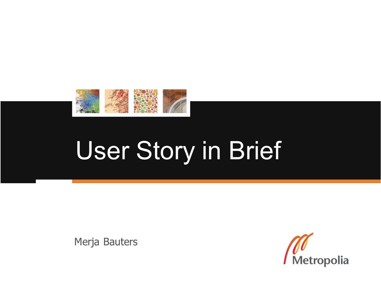User Story in Brief Merja Bauters