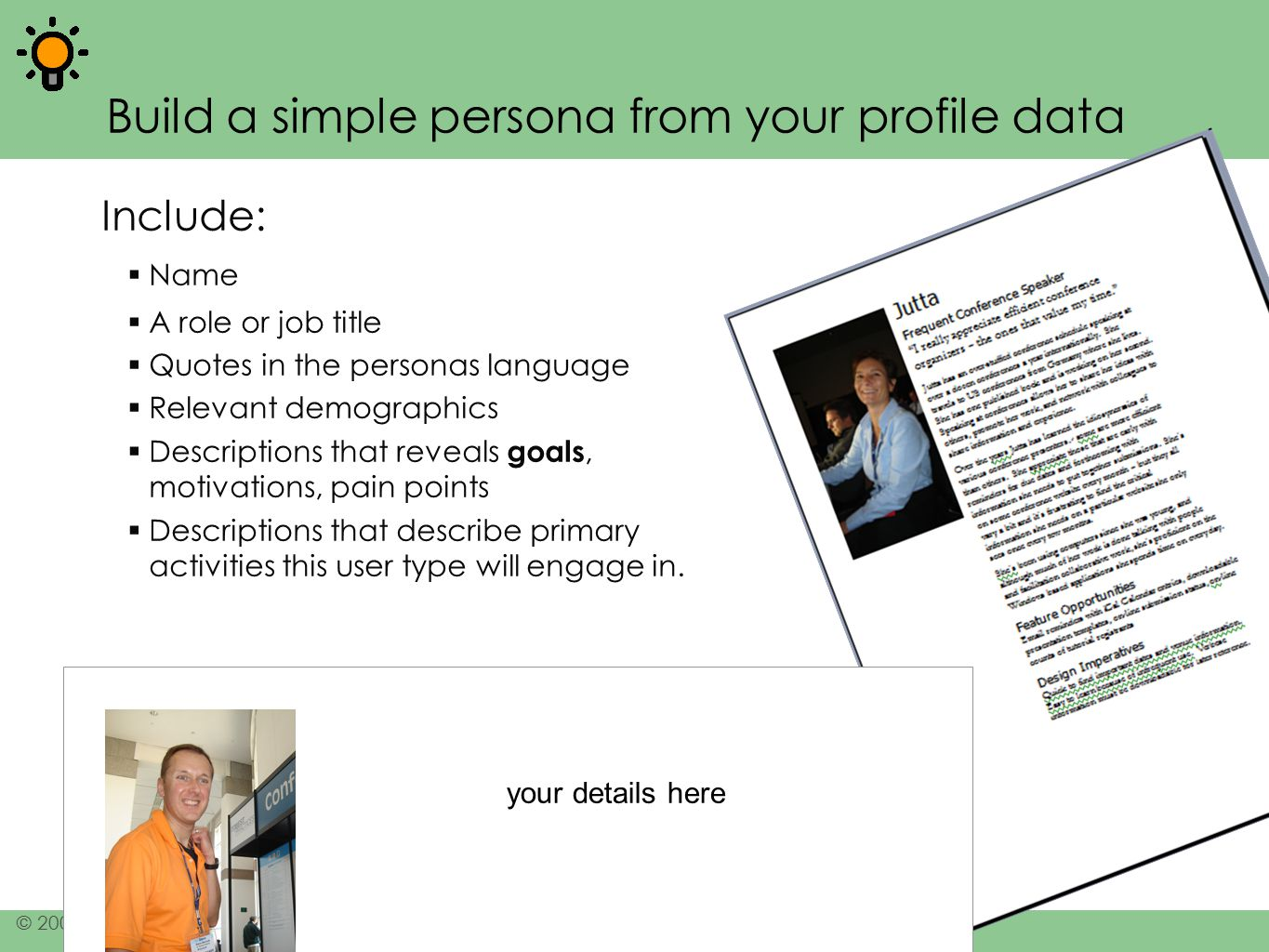 Build a simple persona from your profile data