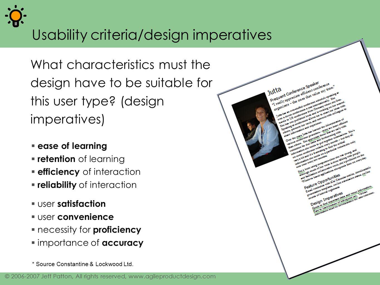 Usability criteria/design imperatives