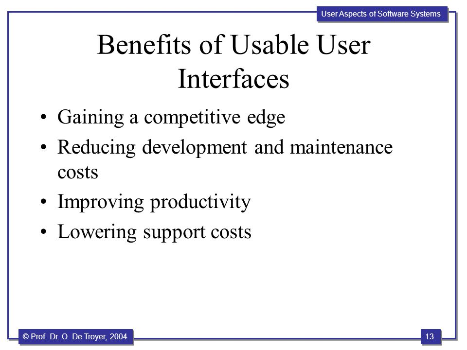 Benefits of Usable User Interfaces