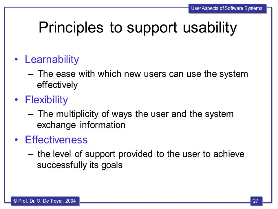 Principles to support usability